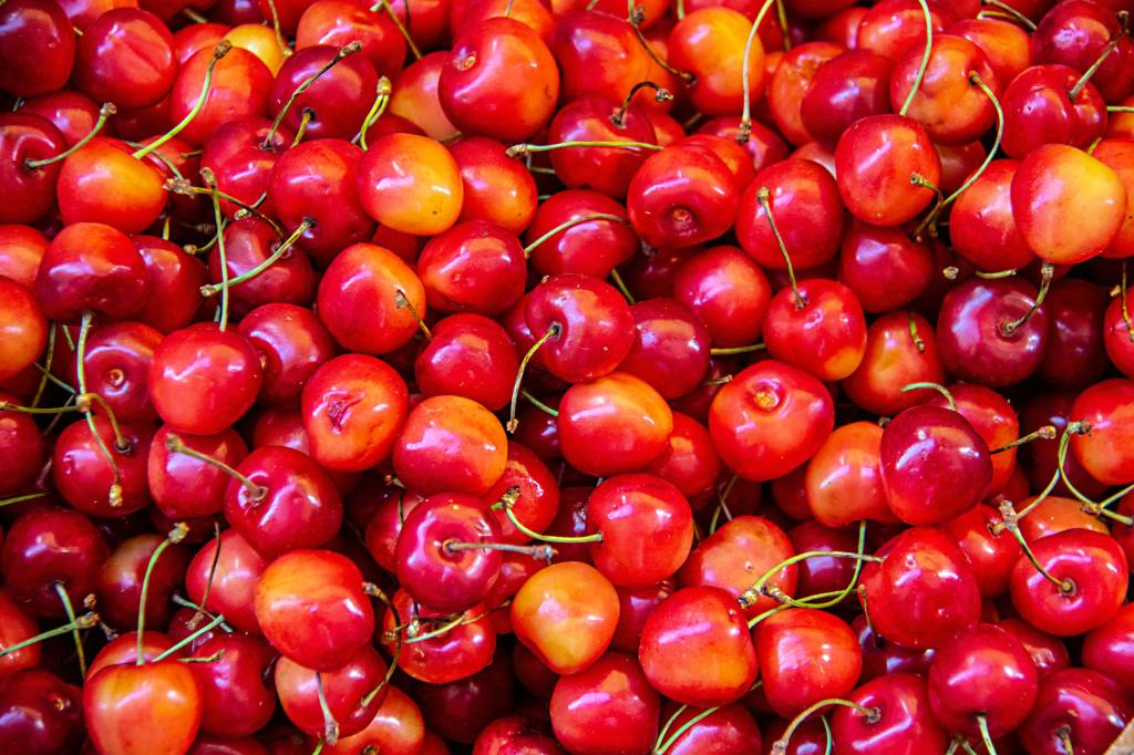red, orange cherries for good health, sweetness in life and love
